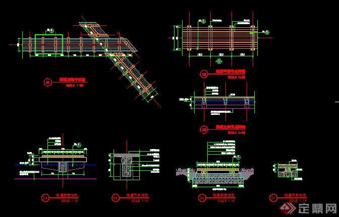 木栈道,临水平台,座椅详细施工图