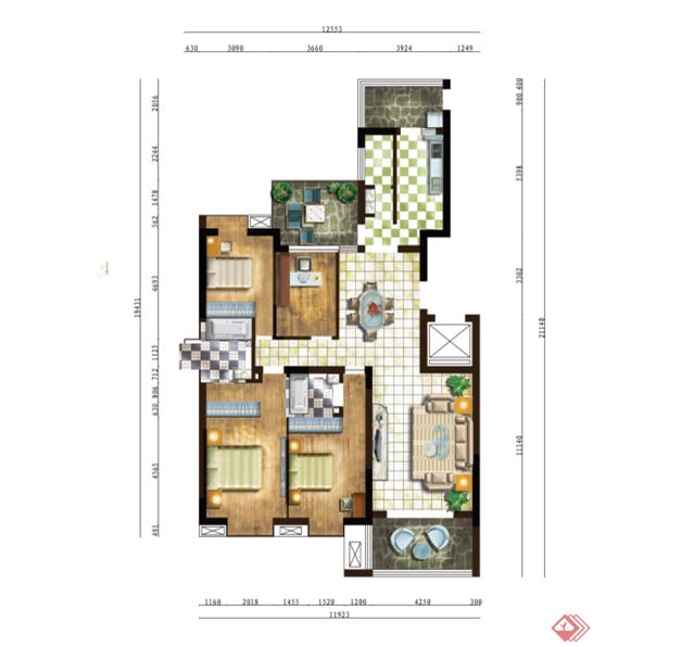 三室二厅兼书房加空中花园 豪华别墅后期彩平效果图