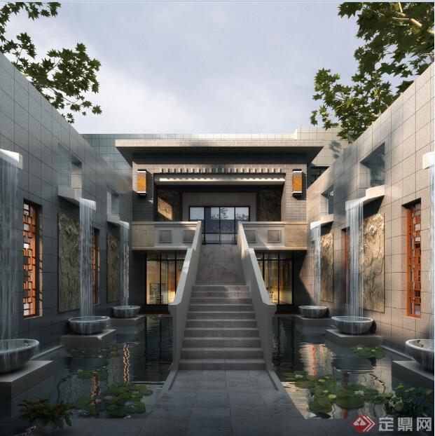 中式会所建筑设计方案(含效果图
