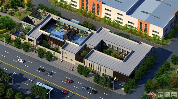 中式会所建筑设计方案(含效果图)4