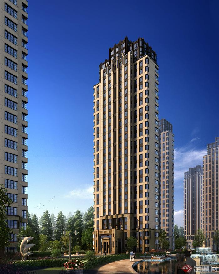 某小区高层建筑设计效果图