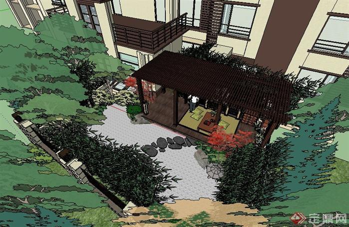 一层枯山水场景庭院方案su精致设计模型