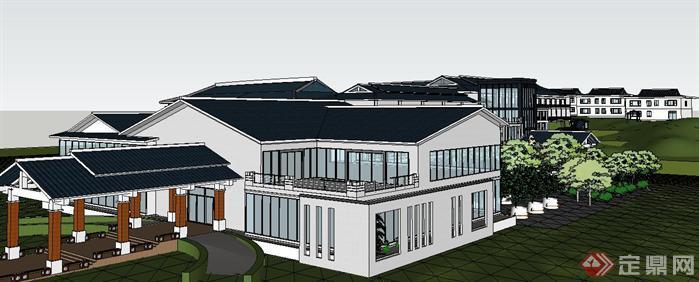 新中式养生会所建筑设计方案su精致设计模型