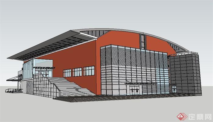 2款体育馆建筑设计方案su模型[原创]