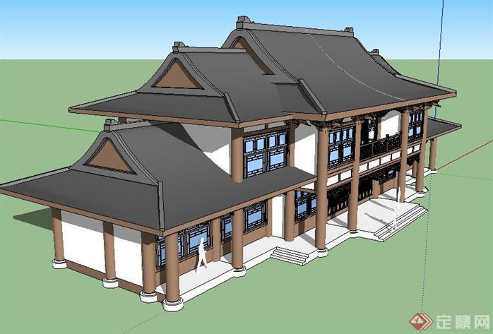 古建办公单体建筑方案su精致设计模型(2)