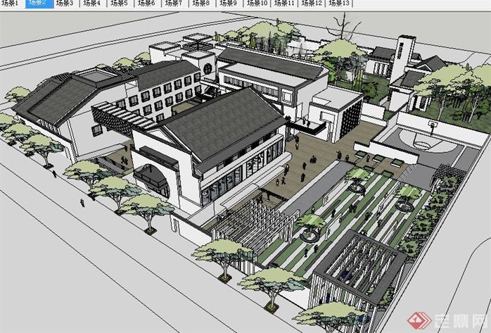 新中式古建园林会所SU精致设计模型(2)