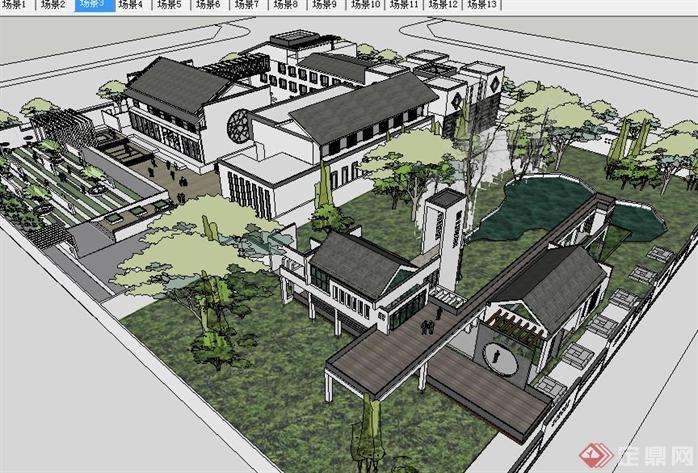 新中式古建园林会所SU精致设计模型(3)