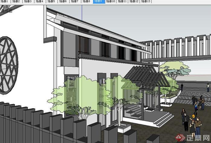新中式古建园林会所SU精致设计模型(5)