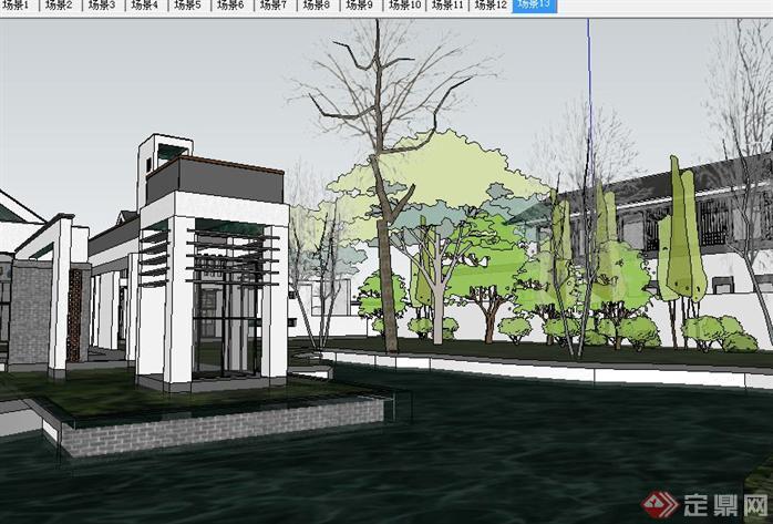 新中式古建园林会所SU精致设计模型(6)