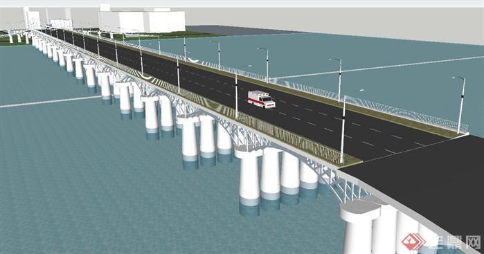 钢混梁柱桥梁su精致设计模型