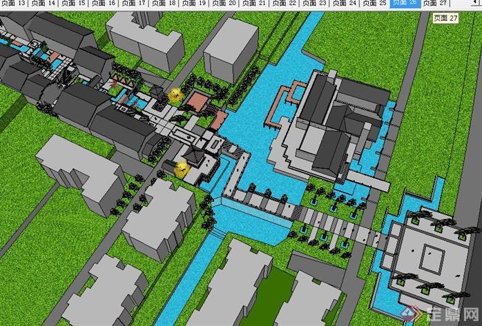 中式坡地居住区景观方案su精致设计模型
