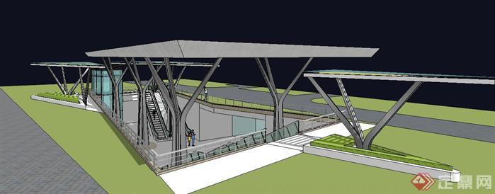 城市地铁出入口su精致设计模型