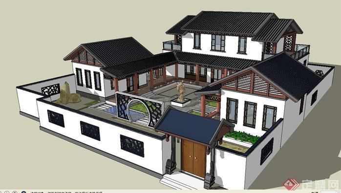 中式模型景观院落别墅和建筑SU精致v模型别墅户型第天美古建大图片