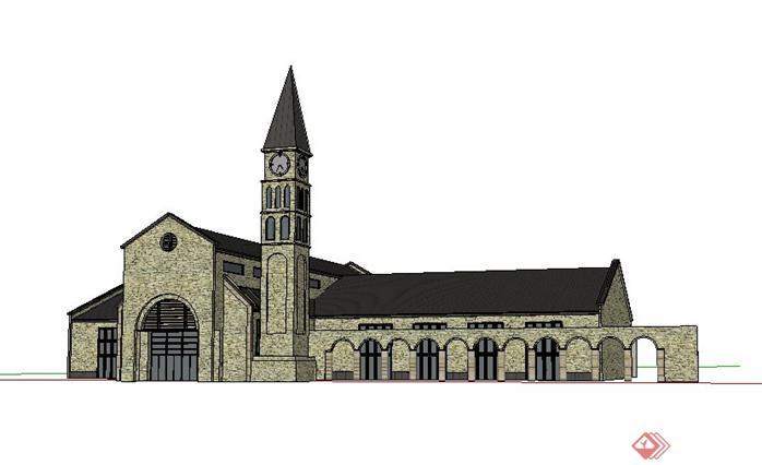 3个教堂建筑设计方案su模型