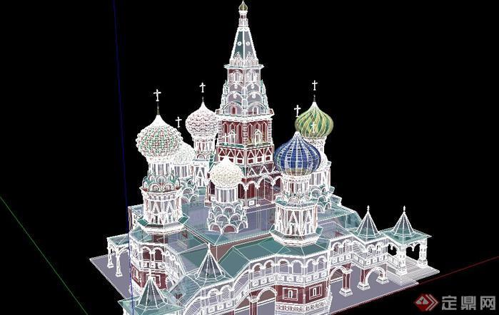 3个教堂建筑设计方案su模型3