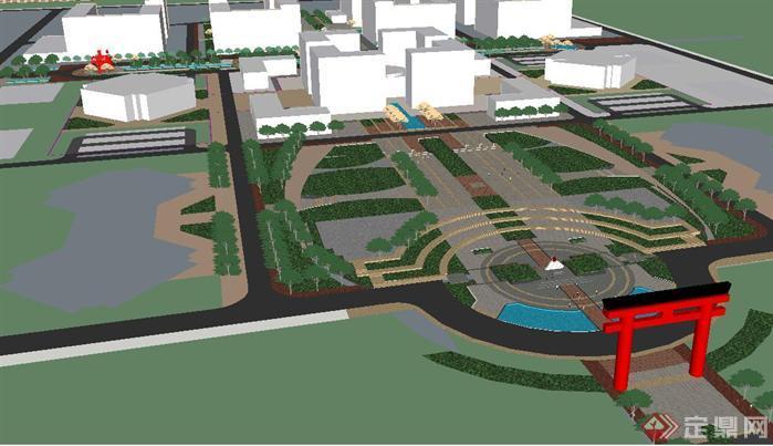 市民廣場景觀規劃方案su精致設計模型