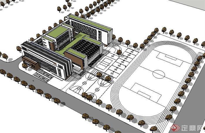 一個新中式小學教學樓建筑方案su精致設計模型