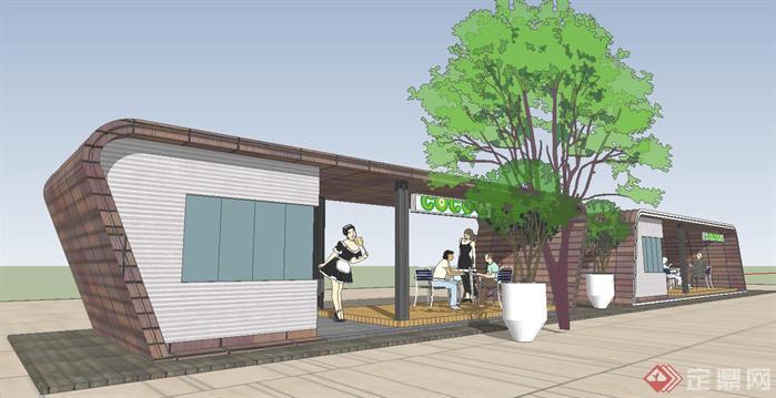 公园小卖铺(售货亭商铺)建筑方案su精致设计模型