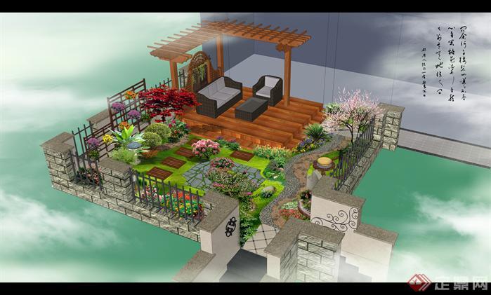 经典别墅庭院设计方案1
