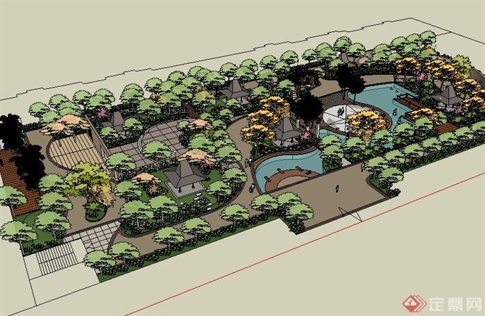 一个东南亚风格住宅小区景观方案su精致设计模型