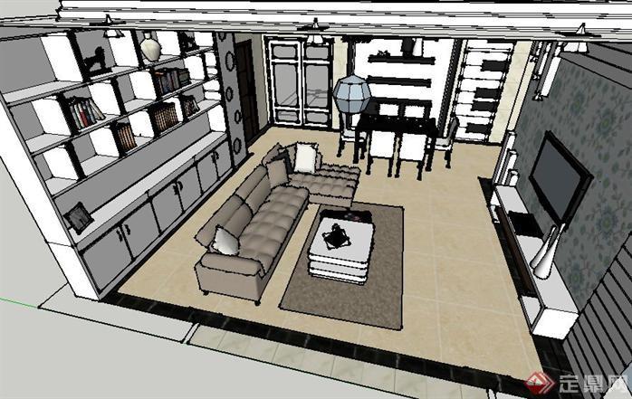 现代简约风格客厅装潢方案su精致设计模型[原创]