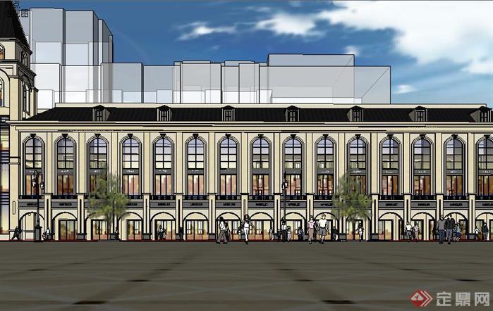 欧式沿街商业街建筑方案su精致设计模型[原创]