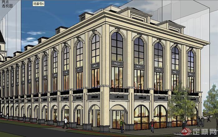 欧式沿街商业街建筑方案su精致设计模型