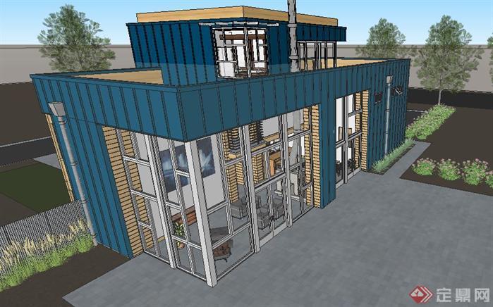 一个集装箱改造别墅SU精致设计模型(1)