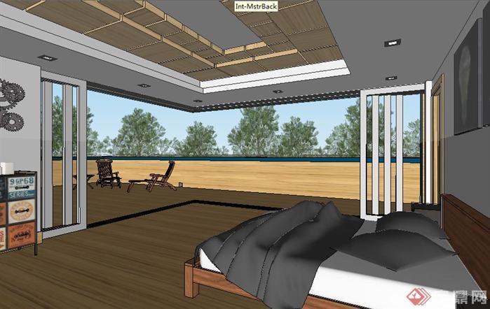 一个集装箱改造别墅SU精致设计模型(3)