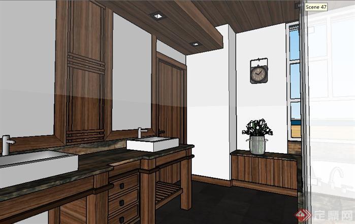 一个集装箱改造别墅SU精致设计模型(6)