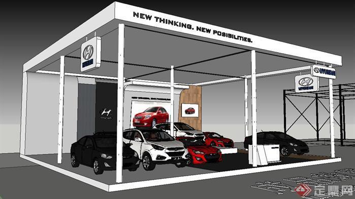 汽车展示厅装潢方案SU精致设计模型