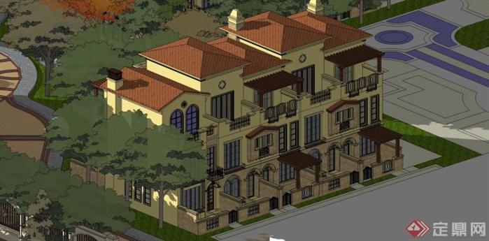 新古典高层建筑su模型设计,跟西班牙风格别墅建筑在同一个