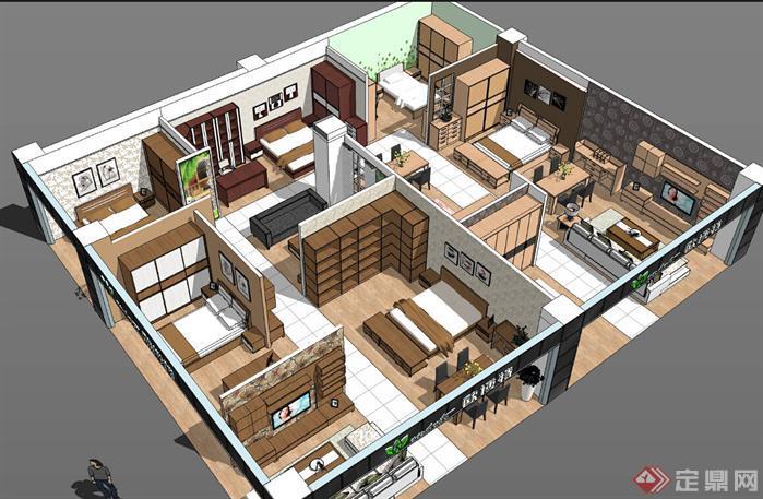 欧博特家具展厅SU精品设计模型(整套CAD图纸+效果图+动画)(1)