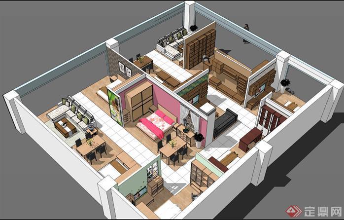 欧博特家具展厅SU精品设计模型(整套CAD图纸+效果图+动画)(2)