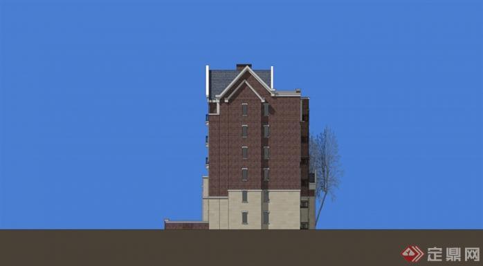 多层英式住宅坡屋顶su模型设计[原创]