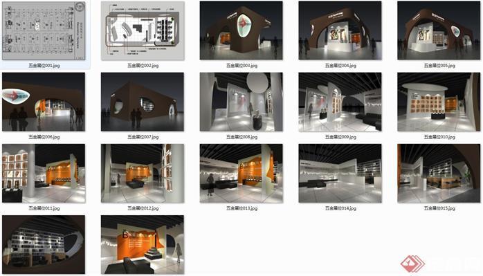 五金展会展厅SU精品设计模型(整套CAD图纸+效果图)(3)