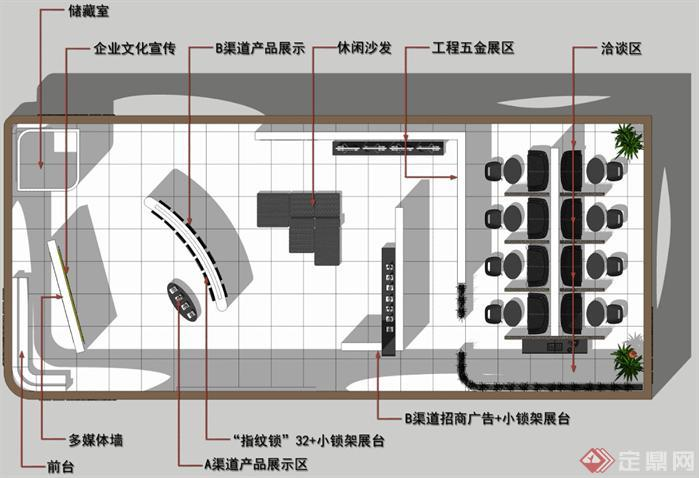 五金展会展厅SU精品设计模型(整套CAD图纸+效果图)(4)