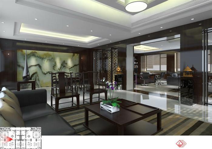 领导办公室装潢方案SU精品设计模型(整套CAD图纸+效果图)(2)