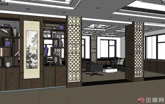 领导办公室装潢方案SU精品设计模型(整套CAD图纸+效果图)(4)
