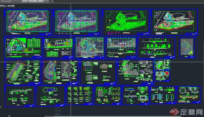 广场景观绿化设计cad施工平面图30套