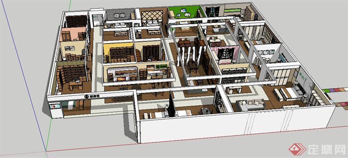 家具专卖店装潢方案SU精品设计模型(整套CAD图纸+效果图),该室内空间设计方案创意优秀,室内设计案例中具有很好的代表性,值得参考。