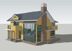 农村自建房建筑设计方案su 草图大师 模型