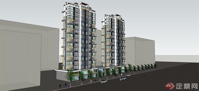现代风格高层住宅楼带底层商业建筑设计su模型[原创]