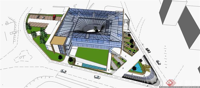 武汉大学图书馆建筑设计su模型