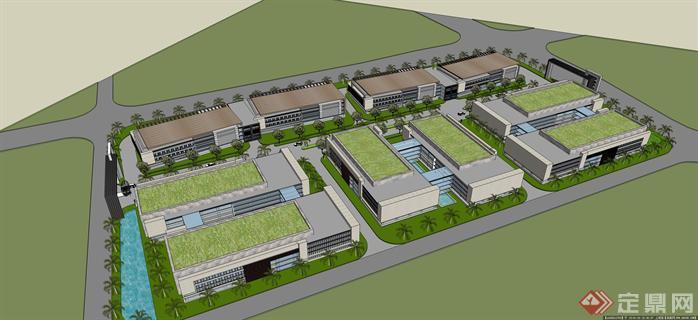 现代厂房区建筑设计方案su模型(2)