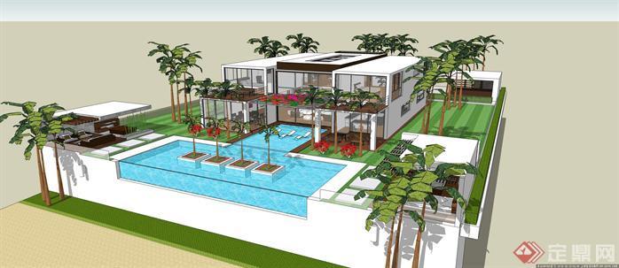 现代水景别墅建筑设计方案su精细模型(2)