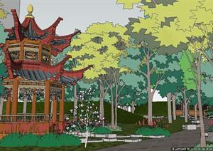 小区休闲庭院景观SU(草图大师)精致设计模型