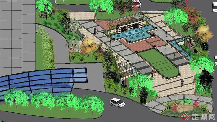 一个小区入口广场景观方案su精细设计模型[原创]