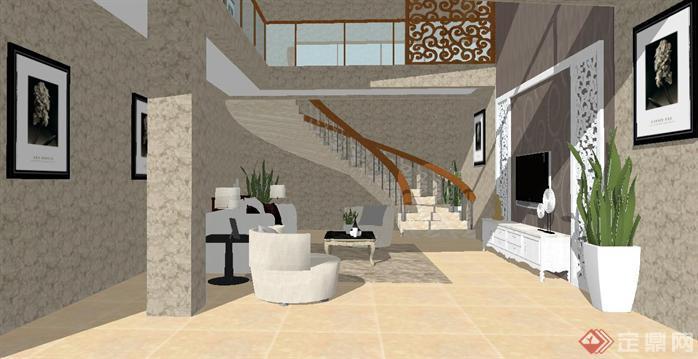 复式客厅带旋转楼梯装潢方案su精细设计模型(2)