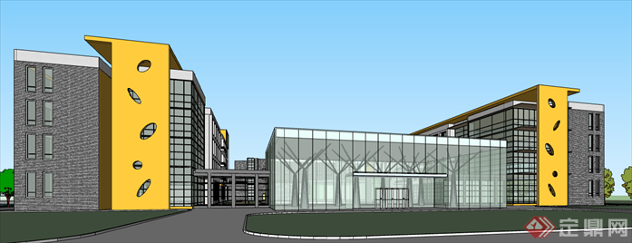 科研楼教学楼建筑设计方案sketchup全模[原创]
